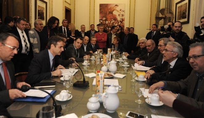 ΑΘΗΝΑ-Ο Πρόεδρος της Νέας Δημοκρατίας Κυριάκος Μητσοτάκης, συναντήθηκε σήμερα, με το Προεδρείο της ΓΣΕΕ, Δευτέρα 15 Φεβρουαρίου.(EUROKINISSSI-ΜΠΟΛΑΡΗ ΤΑΤΙΑΝΑ )