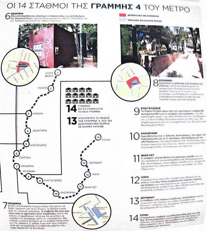 Γραμμή 4 του Μετρό: 14 δρόμοι που θα κλείσουν λόγω έργων