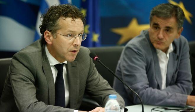 Συνέντευξη Τύπου του Υπουργού Οικονομικών κ. Ευκλείδη Τσακαλώτου με τον επικεφαλής του Eurogroup Γερούν Ντάισελμπλουμ την Δευτέρα 25 Σεπτεμβρίου 2017, στο Υπουργείο Οικονομικών (EUROKINISSI / ΣΤΕΛΙΟΣ ΜΙΣΙΝΑΣ)