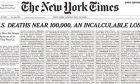 Με ένα ιδιαίτερο πρωτοσέλιδο, η εφημερίδα «New York Times» τιμά, την Κυριακή (24/05), τα θύματα του κορονοϊού στις ΗΠΑ