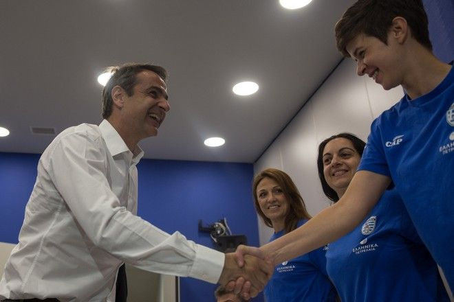 Meeting of the leader of the New Democracy Kyriakos Mitsotakis with greek delegation the 23rd Summer Deaf Olympics , on July  13, 2017. /                 23      18  30  2017,  13  2017