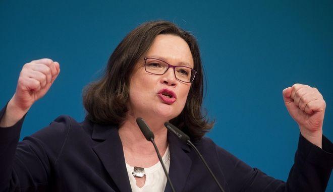 Η νέα πρόεδρος του SPD Andrea Nahles