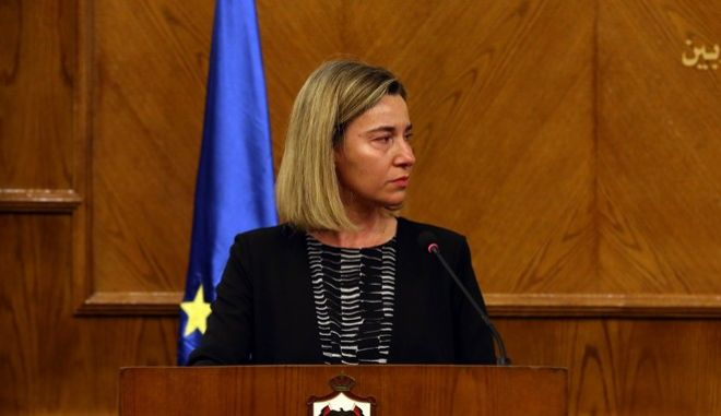 epa05225166 Federica Mogherini the High Representative of the European Union for Foreign Affairs and Security Policy  cries during Joint press conference with Jordanian Foreign Minister Nasser Judeh in Amman Jordan on 22 March 2016, on hearing the news of the fatal terror attacks in Brussels.  EPA/JAMAL NASRALLAH