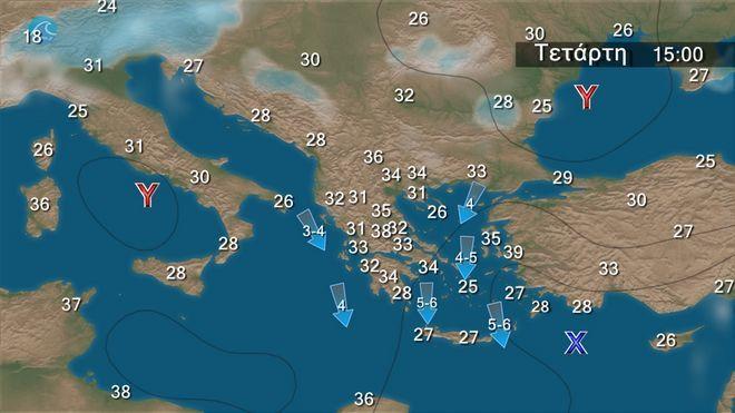 Μελτέμι στο Αιγαίο και γενικά σχεδόν αίθριος καιρός - Άνοδος της θερμοκρασίας από Δευτέρα