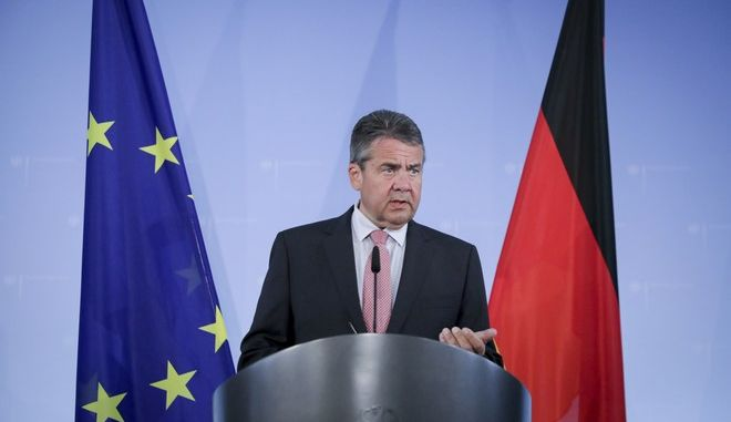 German Foreign Minister Sigmar Gabriel speaks during a news conference in Berlin, Germany, Thursday, July 20, 2017. Gabriel said his country will revise its travel advice for Turkey following the jailing of a German human rights activist who has no ties to the country. (Kay Nietfeld/dpa via AP)