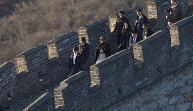 U.S. first lady Melania Trump visits the Mutianyu Great Wall section n Beijing Friday, Nov. 10, 2017. (AP Photo/Ng Han Guan)