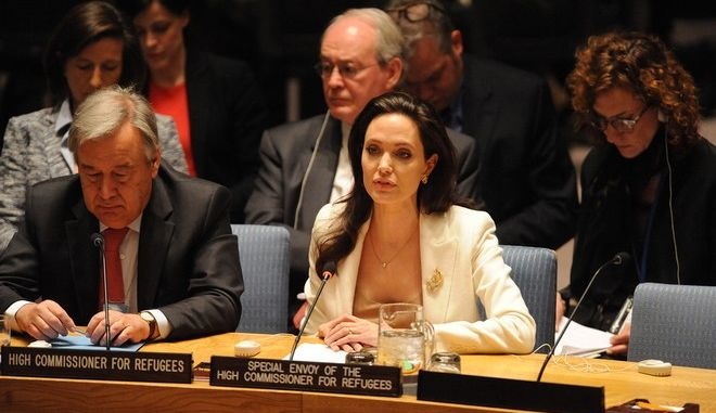 Actress Angelina Jolie at the United Nations security meeting at the United Nation..April 24, 2015 By John Roca