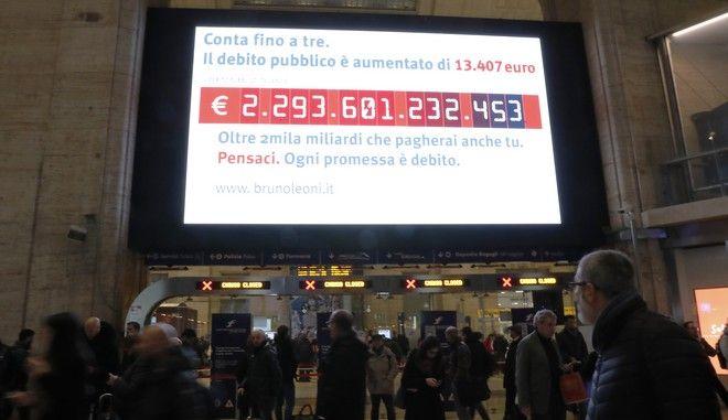 """Το """"ρολόι χρέους"""" στον κεντρικό σταθμό του Μιλάνου"""