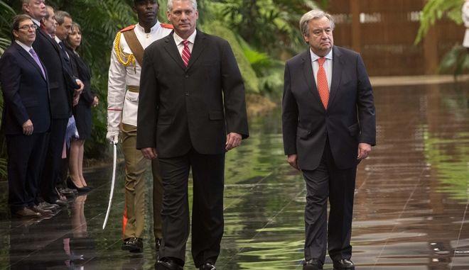 O Πρόεδρος της Κούβας Miguel Diaz Canel με τον Γενικό Γραμματέα του ΟΗΕ, Antonio Guterres, κατά την επίσκεψη του δεύτερου στην Αβάνα, 7 Μαΐου 2018