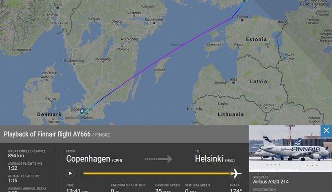Η πτήση 666 της Finnair, με αεροπλάνο ηλικίας 13 ετών, προσγειώθηκε στο HEL στις 13:31 μ.μ