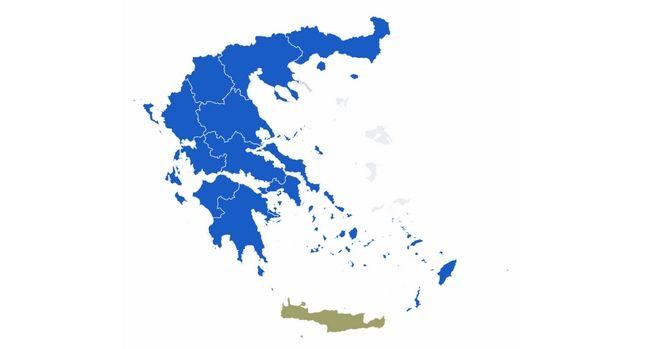 Αποτελέσματα περιφερειακών εκλογών 2019: Ο χάρτης της Ελλάδας στο 100% της ενσωμάτωσης