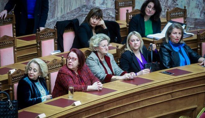 Ειδική Συνεδρίαση της Ολομέλειας της Βουλής για την Παγκόσμια Ημέρα της Γυναίκας, την Παρασκευή 8 Μαρτίου 2019. (EUROKINISSI/ΓΙΩΡΓΟΣ ΚΟΝΤΑΡΙΝΗΣ)