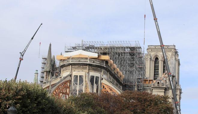 Εργασίες ανοικοδόμησης στην Παναγία των Παρισίων τον Οκτώβριο του 2019