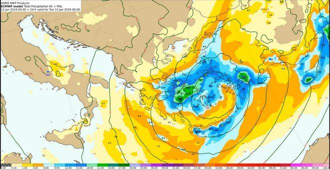 Προβλεπόμενα ύψη υετού από Τρίτη 15/00:00 έως Τρίτη 15/06:00 UTC
