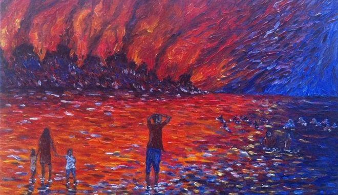 Το σκίτσο του 18χρονου από την Ηλεία που αποτυπώνει την κόλαση της τραγωδίας