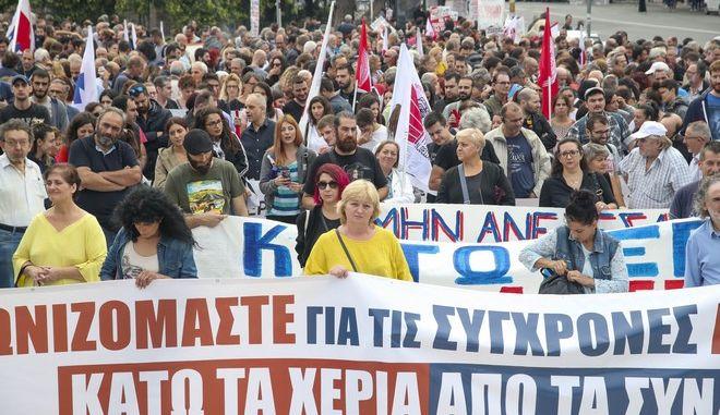 Φωτό αρχείου: Στιγμιότυπο από απεργιακή συγκέντρωση στη Θεσσαλονίκη