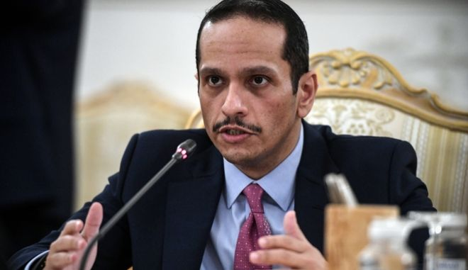 O υπουργός Εξωτερικών του Κατάρ, Σεΐχης Μοχάμεντ μπιν Αμπντουλραχμάν Αλ Θάνι.