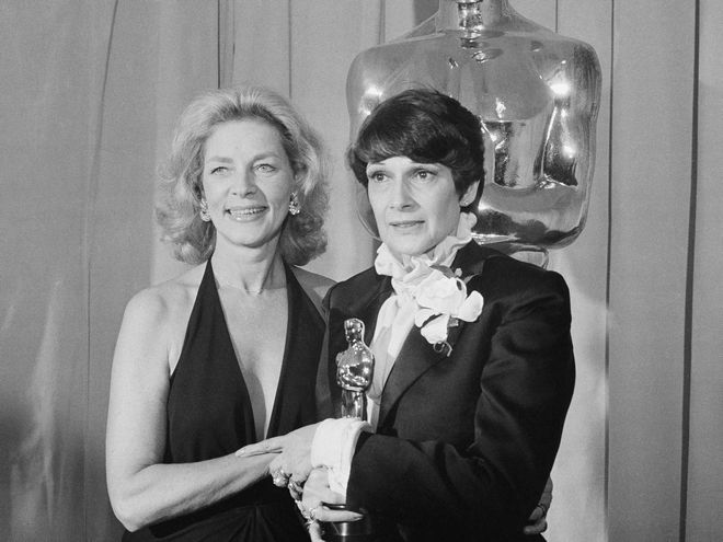 Presenter Lauren Bacall with the winner of the Oscar for best costume design, Theoni V. Aldredge, for the movie