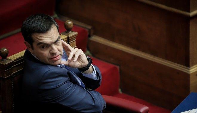 Ο πρωθυπουργός Αλέξης Τσίπρας σε συζήτηση στη Βουλή