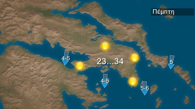 Ζέστη στα δυτικά και βόρεια την Πέμπτη – Μελτέμι τοπικά 6-7 μποφόρ στο Αιγαίο