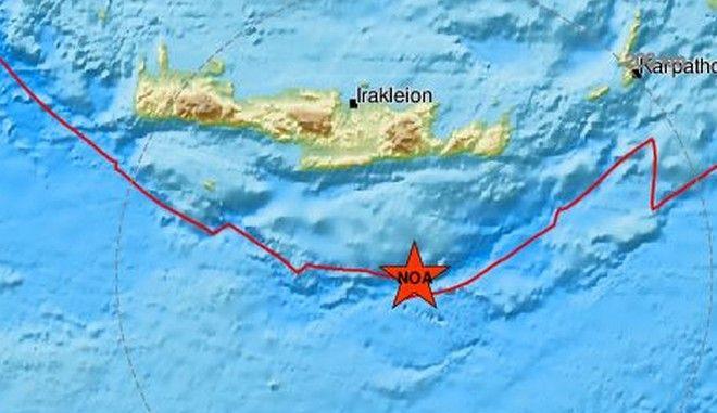 Ασθενής σεισμός 3,8 Ρίχτερ ανοιχτά της Κρήτης