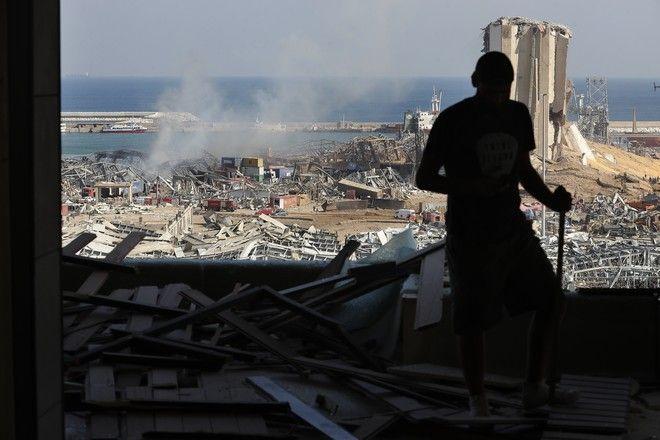 Εικόνες καταστροφής στη Βηρυτό μετά τις εκρήξεις