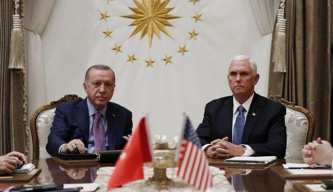 Συνάντηση του αντιπροέδρου των ΗΠΑ Μάικ Πενς και του Τούρκου προέδρου Ρετζέπ Ταγίπ Ερντογάν