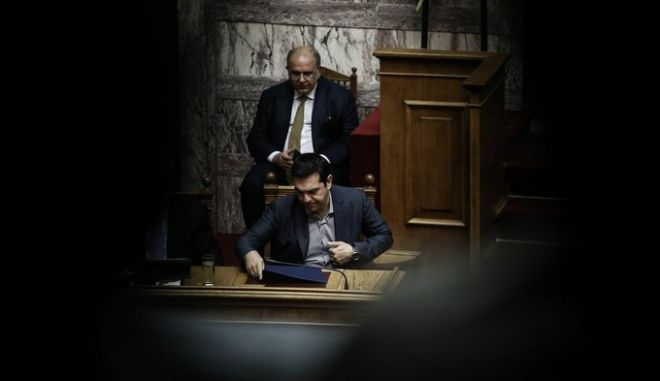 Discussion at the parliamentary plenum about the negotiation and agreement with the European Stability Mechanism (ESM), at the Greek Parliament, in Athens, Greece on July 10, 2015. /                  , ,   10  2015.