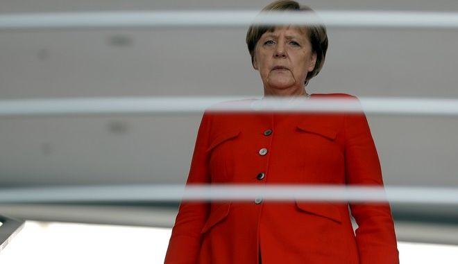 German Chancellor Angela Merkel arrives for a reception for the round table 'Women in Culture and Media' at the chancellery in Berlin, Germany, Monday, July 17, 2017. Merkel celebrates her 63. birthday on July 17. (AP Photo/Michael Sohn)