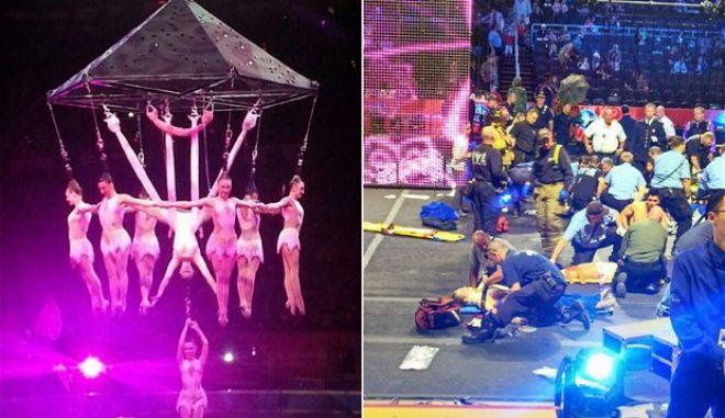 Βίντεο σοκ: Ακροβάτες τσίρκου πέφτουν στο κενό. Σοβαρός τραυματισμός οκτώ