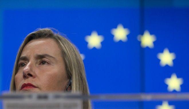 Η επικεφαλής της ευρωπαϊκής διπλωματίας Φεντερίκα Μογκερίνι σε συνέντευξη Τύπου στις Βρυξέλλες