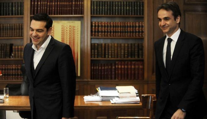 Συνάντηση του πρωθυπουργού Αλέξη Τσίπρα με τον πρόεδρο της Νέας ΔΗμοκρατίας Κυριάκο Μητσοτάκη την Τρίτη 19 Ιανουαρίου 2016. (EUROKINISSI/ΤΑΤΙΑΝΑ ΜΠΟΛΑΡΗ)