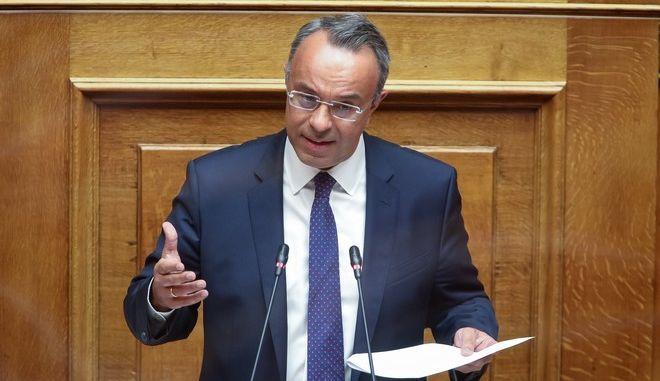 Ο Χρήστος Σταϊκούρας στη Βουλή