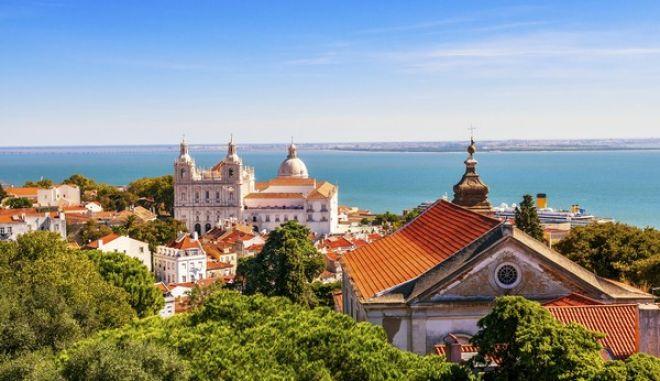 Panorama of a old traditional neighborhood in Lisbon