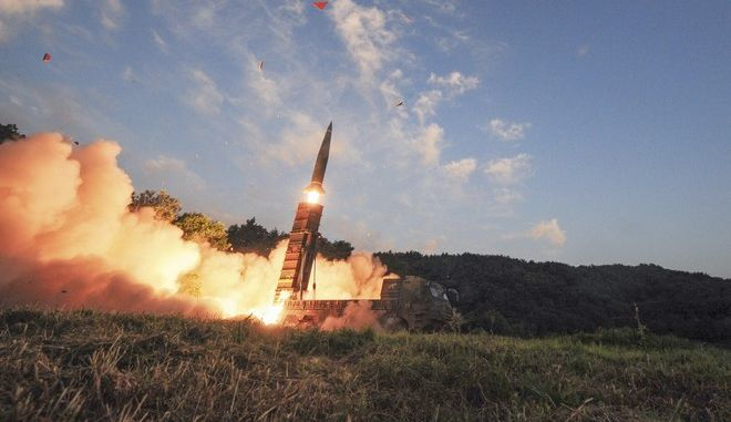 FILE, In this photo on Monday, Sept. 4, 2017, file photo provided by South Korea Defense Ministry, South Korea's Hyunmoo II ballistic missile is fired during an exercise at an undisclosed location in South Korea. (South Korea Defense Ministry via AP, File)