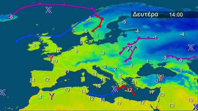 Οι θερμοκρασίες στην Ευρώπη τη Δευτέρα
