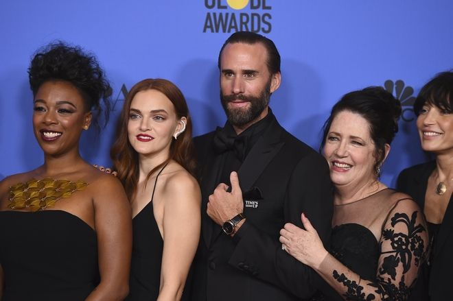 Samira Wiley, from left, Madeline Brewer, Joseph Fiennes, Ann Dowd and Reed Morano, winners of the award for best television series - drama for