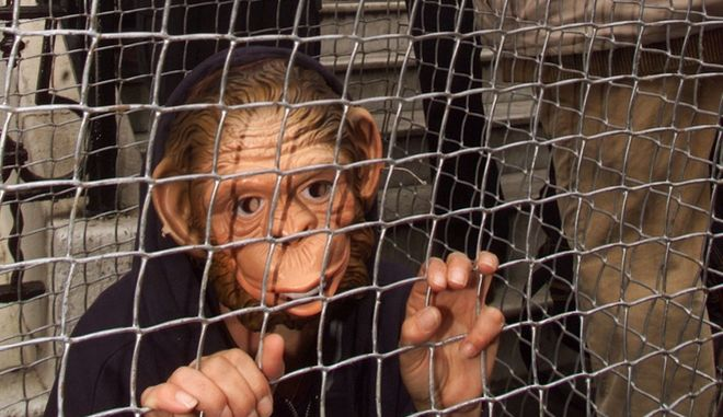 A British policeman asks anti-vivisection demonstrators to move from the doorway of the Spanish Embassy,  in London Wednesday April 26, 2000. The demonstrators, some dressed as monkeys in cages, are protesting about a planned  monkey breeding farm to be built outside Barcelona in Spain, the monkeys would they claim be used in scientific experiments. (AP Photo/Alastair Grant)
