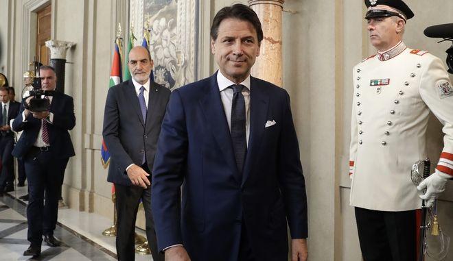 Ο εντολοδόχος πρωθυπουργός της Ιταλίας Τζουζέπε Κόντε στο προεδρικό μέγαρο