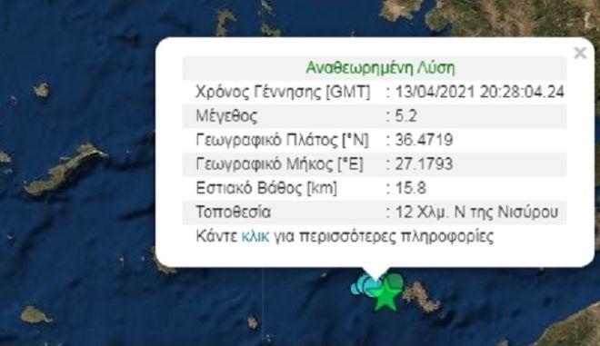 Σεισμός 5.2 Ρίχτερ στην Τήλο