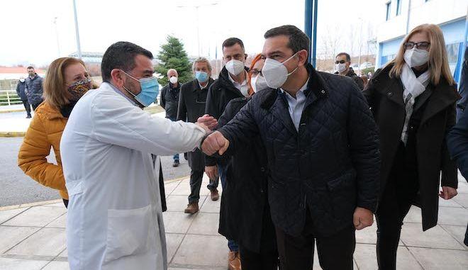 Συνάντηση Αλέξη Τσίπρα με διοίκηση και προσωπικό του νοσοκομείου Κατερίνης, 22 Δεκεμβρίου 2020