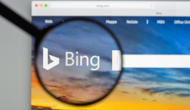 To Bing είναι η μηχανή αναζήτησης της Microsoft, που σύμφωνα με τις μετρήσεις τον Ιούνιο του 2021 είχε το 5.56% της αγοράς.