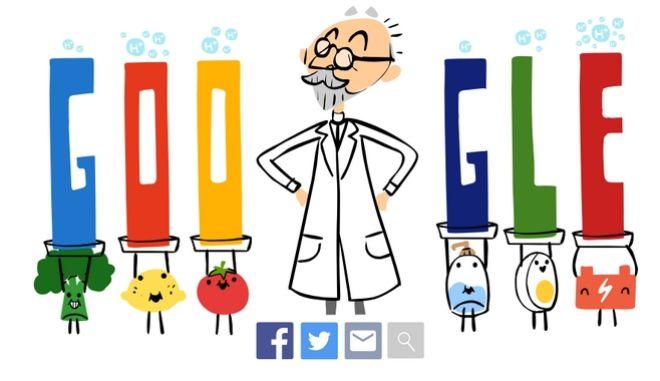 Ο Δανός επιστήμονας, S.p.l. Sørensen, είναι ο άνδρας που σύστησε στον κόσμο την κλίμακα μέτρησης pH και το πρόσωπο που επέλεξε για το σημερινό της Doodle