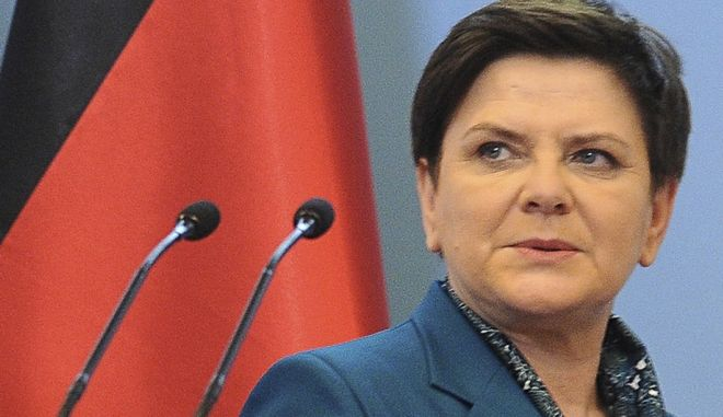 FILE - In this Tuesday Feb. 7, 2017 file photo, Polish Prime Minister Beata Szydlo arrives at a press conference. Critics denounced Poland's prime minister for making comments during a memorial observance at Auschwitz on Wednesdaym June 14, 2017 that appeared to defend her tough anti-migrant policies, saying her words were inappropriate given the location. (AP Photo/Alik Keplicz, File)