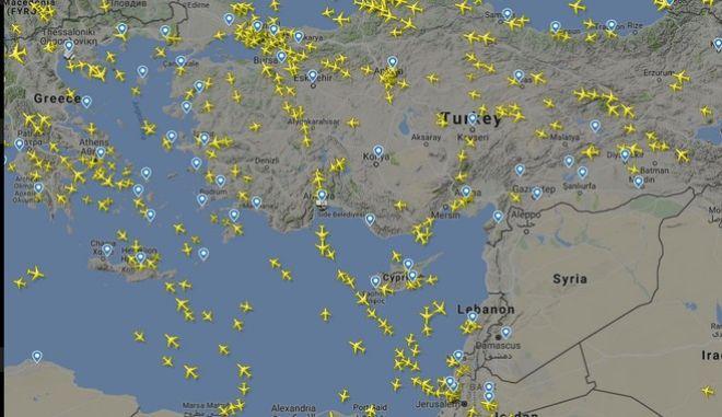 Ο χάρτης των πτήσεων πάνω από τη Συρία