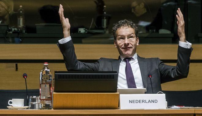 Dutch Finance Minister and chair of the Eurogroup finance ministers Jeroen Dijsselbloem gestures as he arrives for an EU finance ministers meeting at the EU Council in Luxembourg Tuesday, Oct. 11, 2016. (AP Photo/Geert Vanden Wijngaert)