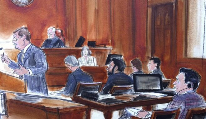 FILE - In this Nov. 28, 2017 courtroom sketch, defense attorney Victor Rocco, left, gives his opening statement to the jury, as his client, Mehmet Hakan Atilla, right rear, listens from the defense table in New York.  The jury is set to begin deliberations in the trial of the Turkish banker accused of helping Iran evade U.S. sanctions and launder billions of dollars in oil revenue.  The trial of Halkbank executive Mehmet Hakan Atilla has featured testimony about bribery and corruption at high levels in Turkey. Atilla's fate will rest with federal court jurors on Wednesday, Dec. 20,  after a judge reads them instructions on the law.  (Elizabeth Williams via AP)