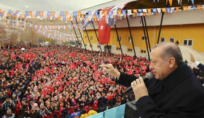 Turkey's President, Recep Tayyip Erdogan, gestures as he addresses supporters of his ruling Justice and Development Party (AKP), at a rally in Bayburt, northeastern Turkey Sunday, Nov. 19, 2017. (Kayhan Ozer/Pool via AP)