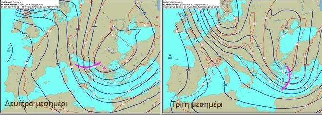 Προγνωστικοί χάρτες στην στάθμη των 500 hPa που δείχνουν τη διαταραχή που θα προκαλέσει την μεταβολή του καιρού στη χώρα μας το επόμενο διήμερο