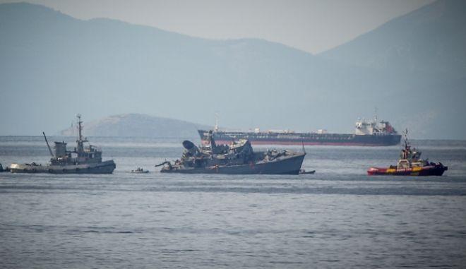 """Σύγκρουση του φορτηγού πλοίου """"Maersk Launceston"""" με το ναρκοθηρευτικό του Πολεμικού Ναυτικού """"Καλλιστώ"""" έξω απο το λιμάνι του Πειραιά"""